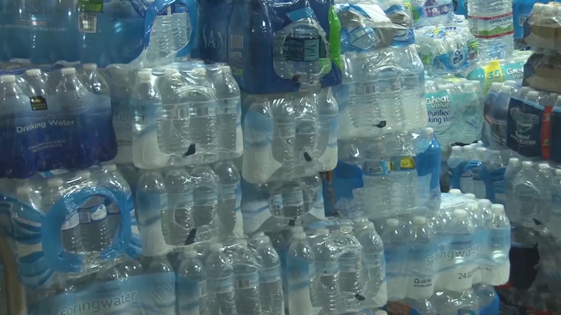 Donated bottled water